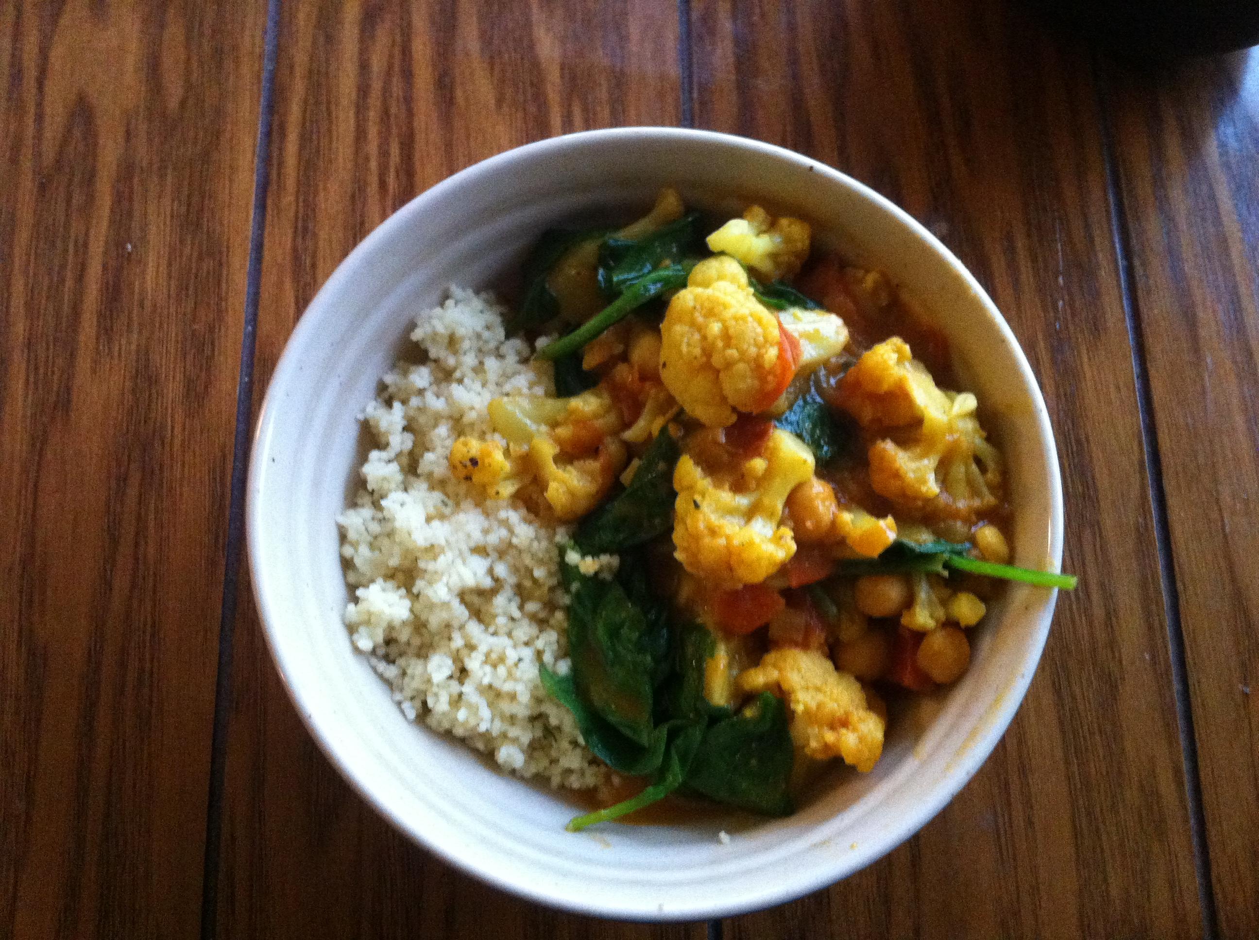 recipe: spinach and cauliflower bhaji [14]